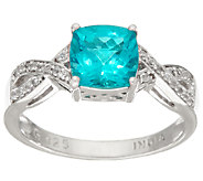 Cushion Cut Blue Apatite & White Zircon Sterling Silver Ring, 1.50 cttw - J324426