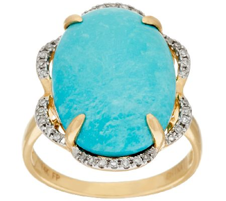 Sleeping Beauty Turquoise & Diamond Bold Ring, 14K Gold 1/10 cttw - J324526