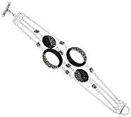 As Is Michael Dawkins Starry Night Sterling & Pave Black Spinel Bracelet - J325626