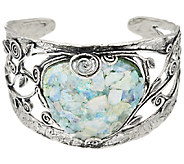 Sterling Silver Roman Glass Vine Design Bold Cuff, Or Paz, 34.0g - J326626
