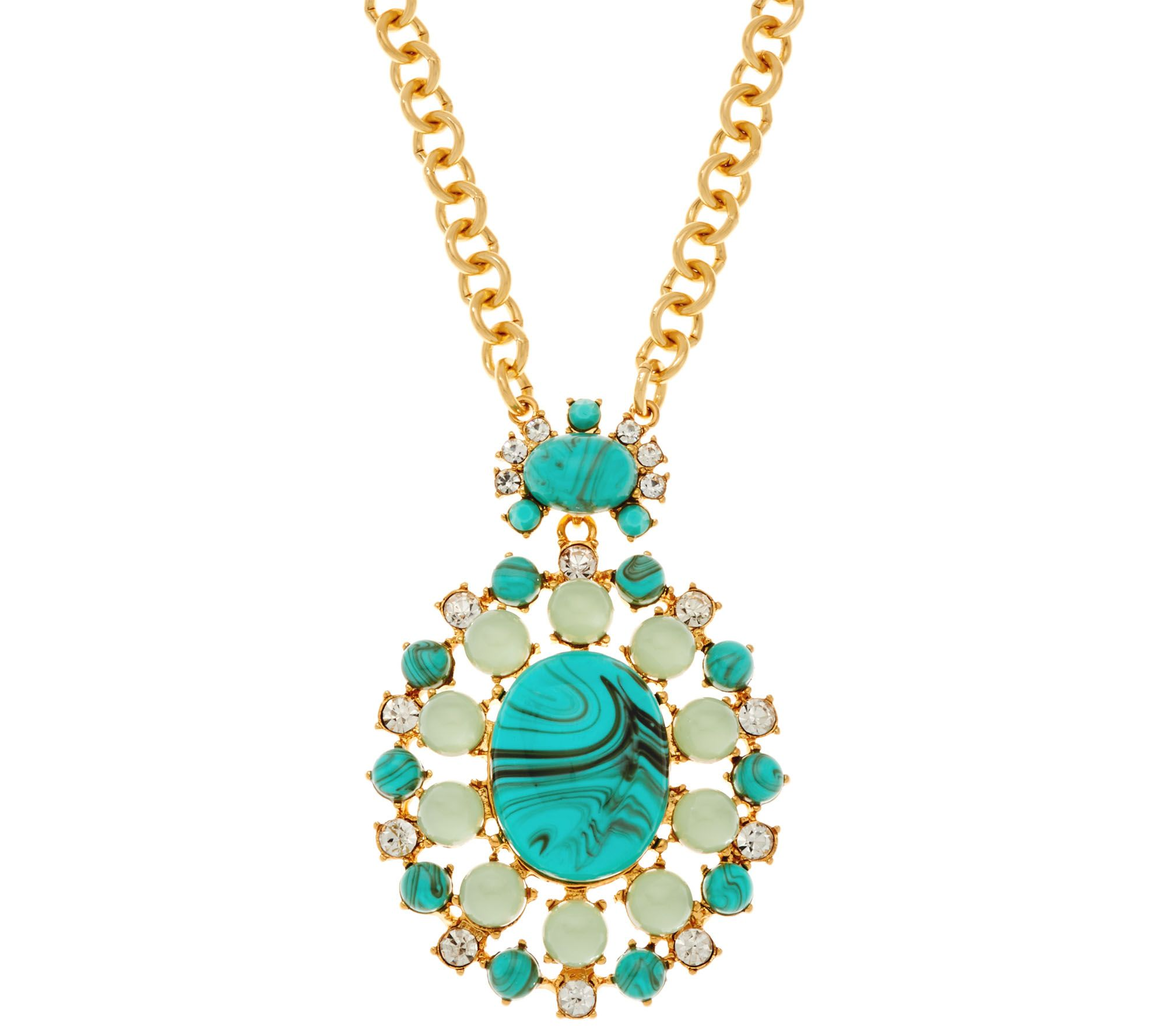 Joan rivers oval cabochon pendant on 32 chain necklace for Joan rivers jewelry necklaces