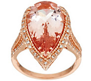Pear Shaped Morganite & Diamond Ring 14K Gold 7.50 ct - J329326