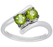 Semi-Precious Gemstone Two Stone Sterling Silver Ring, 0.80 cttw - J330226