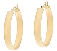 14K Gold 1 Round Polished Wedding Band Hoop Earrings - J330426