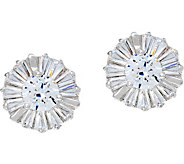 Diamonique Baguette & Round 1.30 cttw Stud Earrings Sterling - J335226
