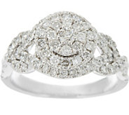 Pave White Diamond Cluster Ring, 14K Gold 1.00 cttw, by Affinity - J345926