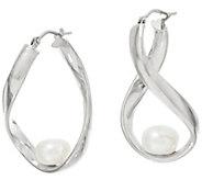 Honora Cultured Pearl Sterling Silver Twisted Hoop Earrings - J347726