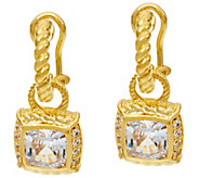 Judith Ripka 14K Clad Asscher Cut Diamonique Drop Earrings - J348226