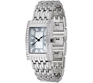 Diamonique Rectangular Watch w/ Bracelet Strap - J349426