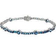 Judith Ripka Sterling Silver 7-1/4 London Blue Topaz Tennis Bracelet - J350026