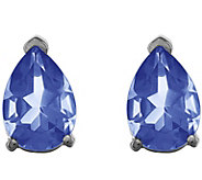 14K White Gold Pear Gemstone Stud Earrings - J377026