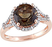 14K Gold 2.75 ct Smoky Quartz & 1/5 cttw Diamond Floral Ring - J377126