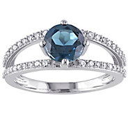 14K 1.55 ct London Blue Topaz & 1/4 cttw Diamond Ring - J377326