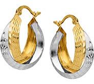 Italian Gold Two-tone Diamond-Cut Nested Hoops14K - J377726