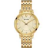 Bulova Womens Goldtone Classic Diamond Watch - J378526