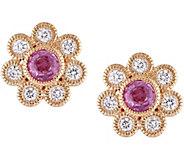 14K 0.60 cttw Pink Sapphire & 3/8 cttw DiamondStud Earrings - J379026
