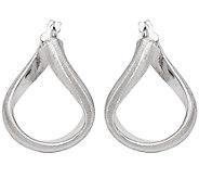 Italian Gold 1 Satin Twisted Hoop Earrings 14K, 2.4g - J382126
