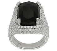 Judith Ripka Sterling Black Onyx and DiamoniqueRing - J383226