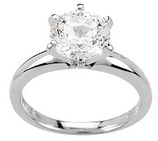Diamonique 100-Facet 3.00 ct Solitaire Ring, Sterling