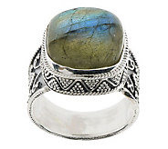 Artisan Crafted Sterling Cushion Shape Labradorite Ring - J273427
