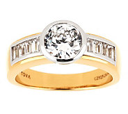 TOVA Diamonique Round & Baguette Ring, 14K  Clad - J281127