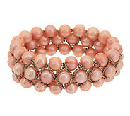 Honora Cultured Pearl 8.0mm Lattice Design Stretch Bracelet - J281827