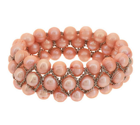 Honora Cultured Pearl 8.0mm Lattice Design Stretch Bracelet