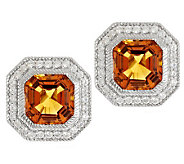 Judith Ripka Sterling 3.50ct Madeira Citrine w/ Diamonique Button Earrings - J288227