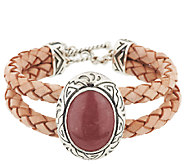American West Sterling Rhodonite Braided Leather Toggle Bracelet - J295027