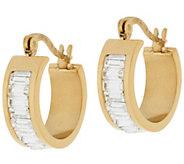Stainless Steel 3/4 Channel Set Baguette Hoop Earrings - J295927