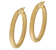 VicenzaGold 1-1/4 Textured Round Hoop Earrings 14K Gold - J296327