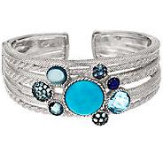Judith Ripka Sterling 5.90 ct tw Multi Gemstone Cluster Cuff - J296427