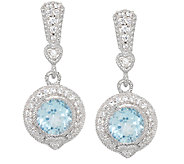 Judith Ripka Sterling & Diamonique 3.95 ct Blue Topaz Earrings - J297027