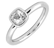 Simply Stacks Sterling Cushion Cut WhiteTopaz Ring - J299427