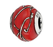 Prerogatives Sterling Red Striped Italian Murano Bead - J300127