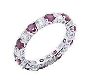 Diamonique & Simulated Ruby Eternity Band Ring,Platinum Clad - J302427