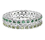 Simply Stacks Sterling Wht Topaz, Emerald, & Peridot Ring Set - J306027