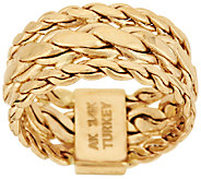 14K Gold Braided Woven Curb Link Design Ring - J318627