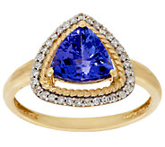 Premier Trillion Cut Tanzanite & Diamond Ring 14K, 1.60 cts - J319227