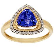 Premier Trillion Cut Tanzanite & Diamond Ring 14K, 1.60 cts - J319227