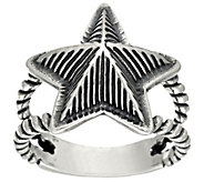 American West Sterling Choice Of Textured Star Ring - J321027