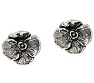 Sterling Silver Textured Flower Stud Earrings by Or Paz - J323127