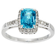 Cushion Blue Zircon & Diamond Solitaire Ring 14K, 3.00 ct - J328027