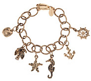 As Is Susan Graver Textured Oval Link Nautical Charm Bracelet - J329927
