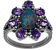 Graziela Gems Opal Triplet & Amethyst Sterling Silver Ring, 1.05 cttw - J330627