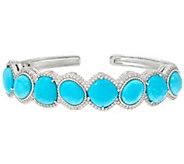 Judith Ripka Sterling Turquoise & Diamonique Cuff Bracelet - J331027