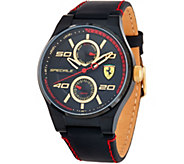 Ferrari Mens Black Leather Strap Speciale Multi Watch - J334327
