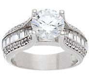 Diamonique 3.10 cttw Bridal Ring, Platinum Clad - J335027