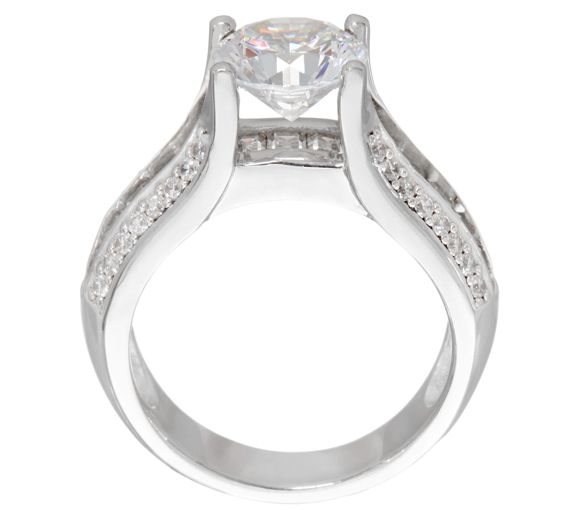 Diamonique 3 10 cttw Bridal Ring Platinum Clad Page 1 — QVC