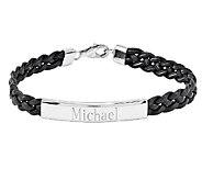 Stainless Steel Engravable Braided Leather ID Bracelet - J336527